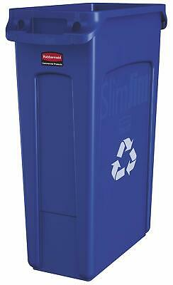Rubbermaid Commercial Products Slim Jim Plastic Rectangular Recycling Bin wit...