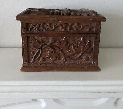 Antique Deeply Carved Oak Wooden Box Cards Trinket Jewellery Box Miniature Chest