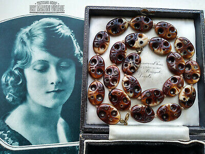 Vintage Art Deco  Necklace Tortoiseshell Egyptian Revival Czech Glass Tab Beads