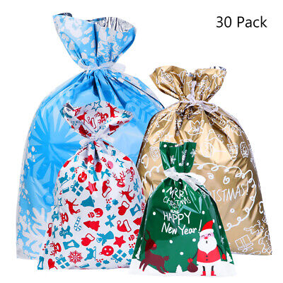 30pcs Xmas Santa Christmas Gift Bags Assorted Styles Wrapping Christmas Decor AU