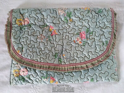 Antique Victorian Edwardian Lingerie Pillow Case Hand Embroidered Floral Bag
