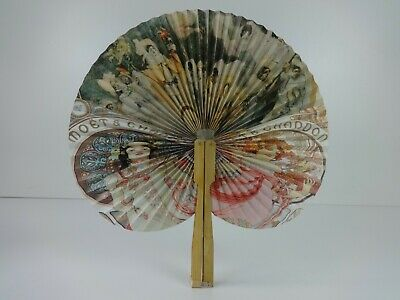 Moet & Chandon Vintage Hand Fan Epernay Traditional Champagne Collectibles