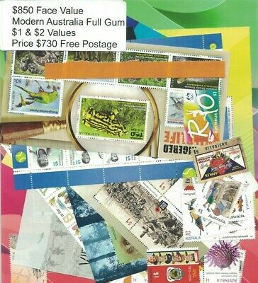 Australia Postage Stamps Mostly $1 & $2, $850 face value, Full GUM, FREE POST