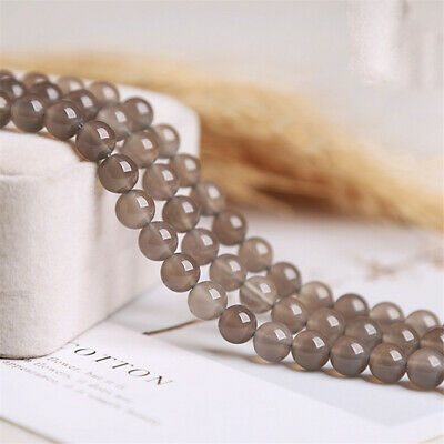 Natural Grey Agate Loose Beads Making Jewelry 15 inches Gemstone Hole Handmade