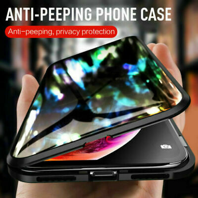 For iPhone XS Max 7 Plus Magnetic Anti-Peep 360° Full Tempered Glass Case Cover