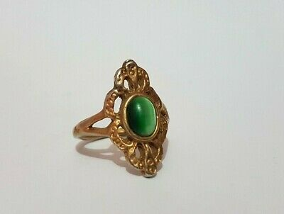Rare Ancient Roman Bronze Stone Green, Ring Antique Authentic Very Stunning