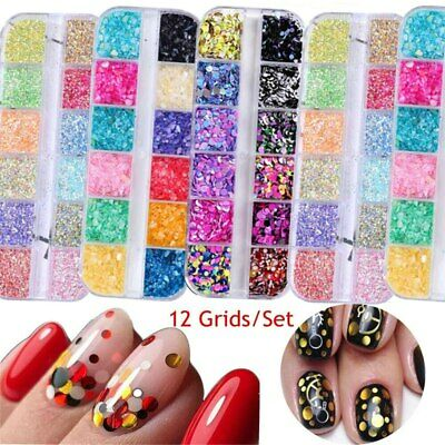 Mixed Color Round Nail Glitter Flakes 3D Sequins Powder Nail Art Decoration UK