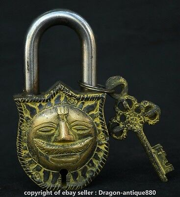 "4.8"" Rare Antique China Bronze Sun Face Sunshine Sunflower Door Lock Key Set S"
