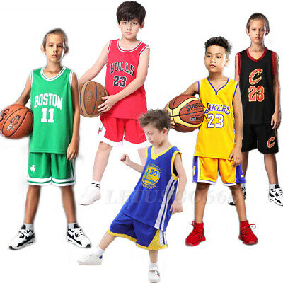 Kids Boys LA Lakers James Basketball Jersey Sport Training Tank Vest Shirt Kits
