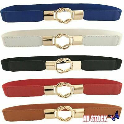 Ladies Women Stretch Elasticated Waist Belt Gold Buckle Fashion 68 cm length
