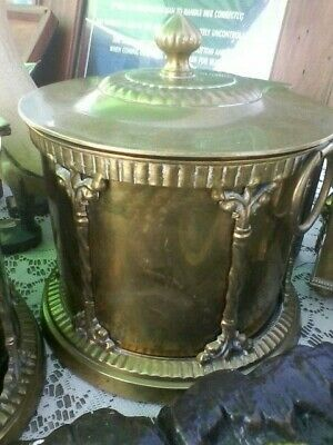 ROUND Vintage Brass Canister Ornate Hinged Lid Removable Insert Rare Antique