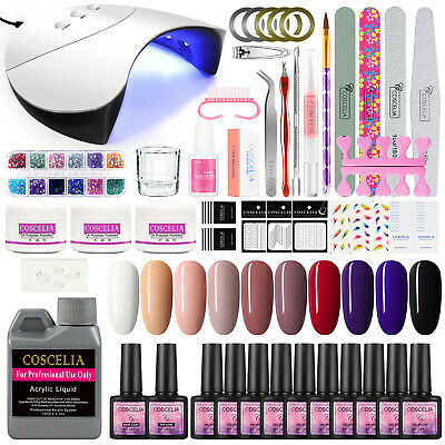 Nail Art Starter Kit Acrylic Powder Liquid UV Gel Primer Tool Tip Brush File DIY