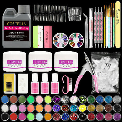 Pro Acrylic Nail Art Manicure Kit Set Powder Liquid Glitter Glue Tips Brush File