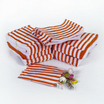 "100x Red Candy Stripe Paper Bags Wedding Sweet Paper Bags - 5"" x 7"""