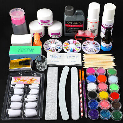 Coscelia Nail Art Kit Acrylic Liquid And Powder Glitter Nail Tips Brush Glass UK