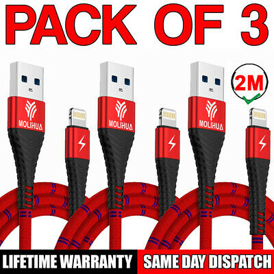 3Pcs Heavy Duty Braided Lightning USB Charger Cable 2M For iPhone X8 7 6 5 iPad