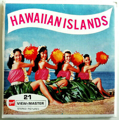 3x VIEW MASTER REEL / HAWAIIAN ISLANDS / +BOOKLET / HULA GIRLS / SURF / HAWAII