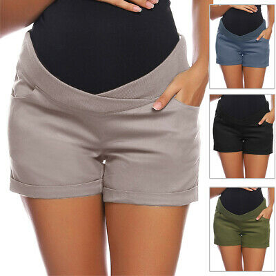 Pregnant Shorts Low-rise Elastic Casual Plain Solid Vintage Beachwear Womens