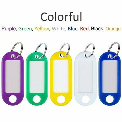 20Pcs Name Label Keys Tag Luggage Fob  Key Ring Tags Plastic Assorted Color USA
