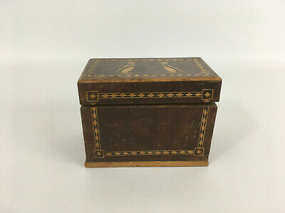 Vintage Wooden Inlaid Marquetry Double Stack Card Box With Penguin Design