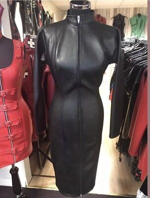 Misfitz black leather look mistress dress 2 way zip size 22 TV Goth CD Pin Up