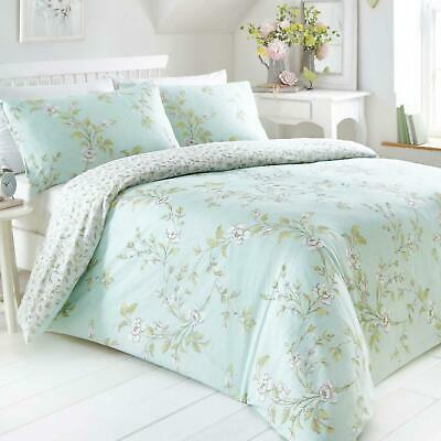 Blue Duvet Covers Floral Duck Egg Reversible Flowers Quilt Cover Bedding Sets