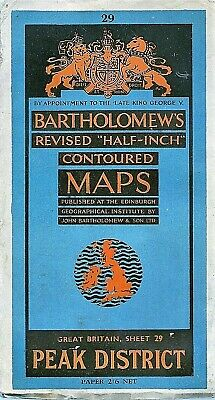 Bartholomews half-inch Map 29 PEAK DISTRICT  -1945