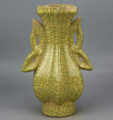 chinese old handmade Yellow glaze porcelain Two ears bottle 04234