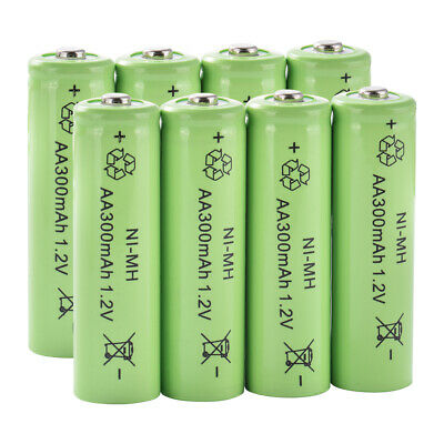 8x Ni-MH AA 300mAh 1.2V Rechargeable Li-ion Battery for Flashlight Torch BC968