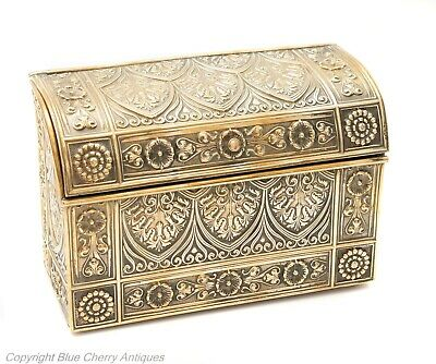 Antique Embossed Brass Cased Desk Type Stationery or Small Letter Box c1880