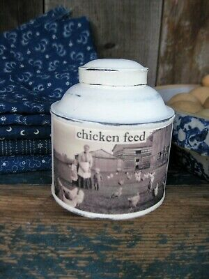 Early Antique Pantry Spice Tin w Old Photo Print Chicken Feed Free Shipping