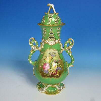 Mintons Porcelain - Green Reticulated Potpourri Covered Urn - to be restored