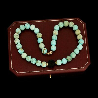 Antique Vintage Deco Retro 14k Gold Chinese Carved Turquoise Onyx Bead Necklace