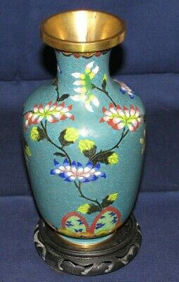 Vintage Cloisonne on Brass Lotus Flower Decorated Vase and Stand, Stamped Base