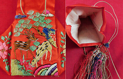 Antique Chinese Red Silk Deer & Butterfly Embroidery Pouch Purse Tassel Trim Vtg
