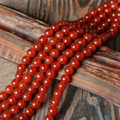1pcs 4-14mm Red Agate Round Beads Loose Bead 15 inches Healing Top Gemstone