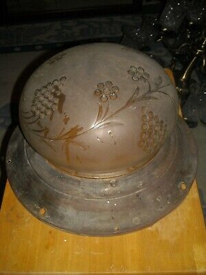 """vintage 12"""" Frosted glass ceiling shade with 4"""" brass collar"""