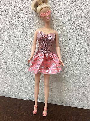 Barbie Doll Outfit Peach Colored Dress & Matching Accessories Glasses Wedges #3