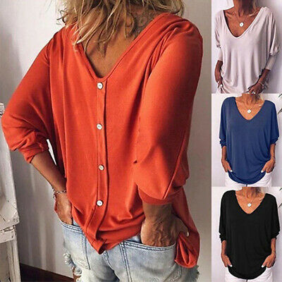 Womens Summer 3/4 Sleeve Back Buttons T Shirts Plus Size V Neck Solid Top Blouse