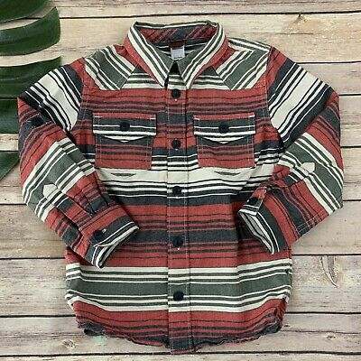 Tea Collection Boys Button Up Shirt Size 4 Red Blue Stripes Long Sleeve Cotton