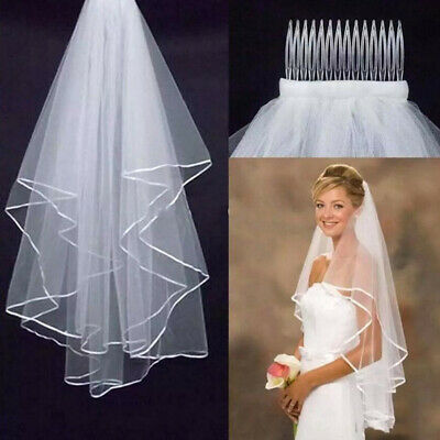 Women Handmade Bridal Satin Veil Wedding Veils Elbow Length With Comb 2 Layer