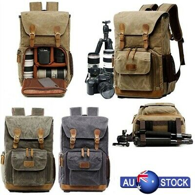 Unisex DSLR SLR Camera Backpack Rucksack Waterproof Travel Laptop Lens Case Bags