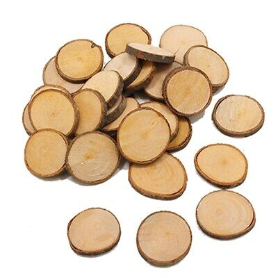 10pc Unfinished Natural Round Wood Slices Circles Tree Bark Log Discs Wooden LG