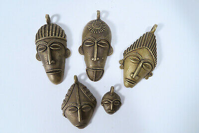 Lot 5 Messinganhänger Masken AX94 Ghana Brass Pendants Masks Ashanti Afrozip