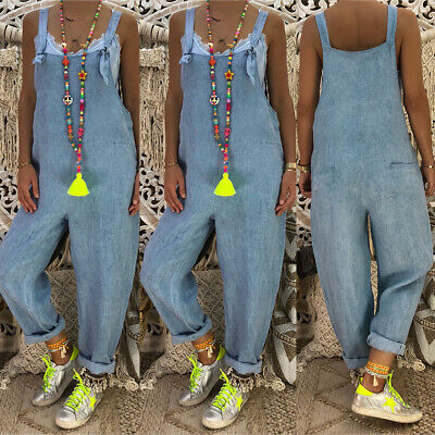 Women Loose Denim Jumpsuit Dungarees Ladies Casual Playsuit Trousers Overalls UK