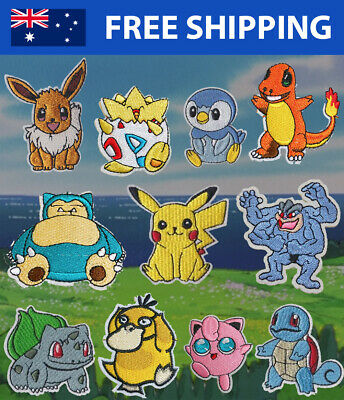 Pokemon Embroidered Patches for Embroidery Cloth Patch Badge Iron Sew On Pikachu