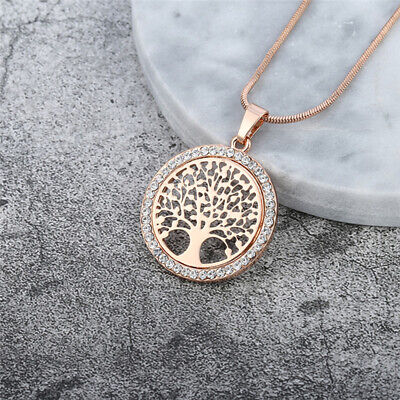 Big Tree of Life Crystal Pendant Necklace Sweater Chain Gold Silver or Rose NEW