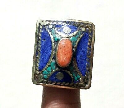 Coral With Lapis Lazuli Handmade Ring With Adjustable Size Silver Overlay