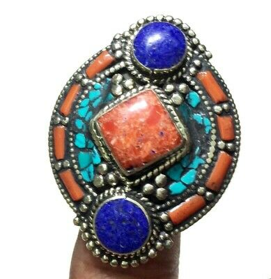 Coral Lapis Lazuli & Turquoise Handmade Ring With Adjustable Size Silver Overlay