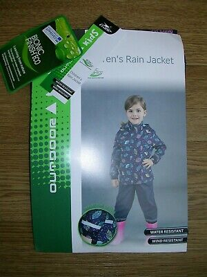 BNWT CRANE Girls Blue Leaf Print Hooded Rain Coat Jacket Age 5-6 116cm NEW